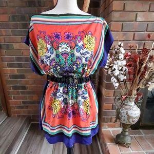 Just Ginger Floral Print Boho Style Belted Blouse